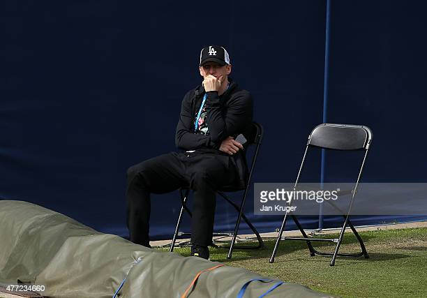 Bastian Schweinsteiger looks on as girlfriend Ana Ivanovic of Serbia practise on day one of the Aegon Classic at Edgbaston Priory Club on June 15...