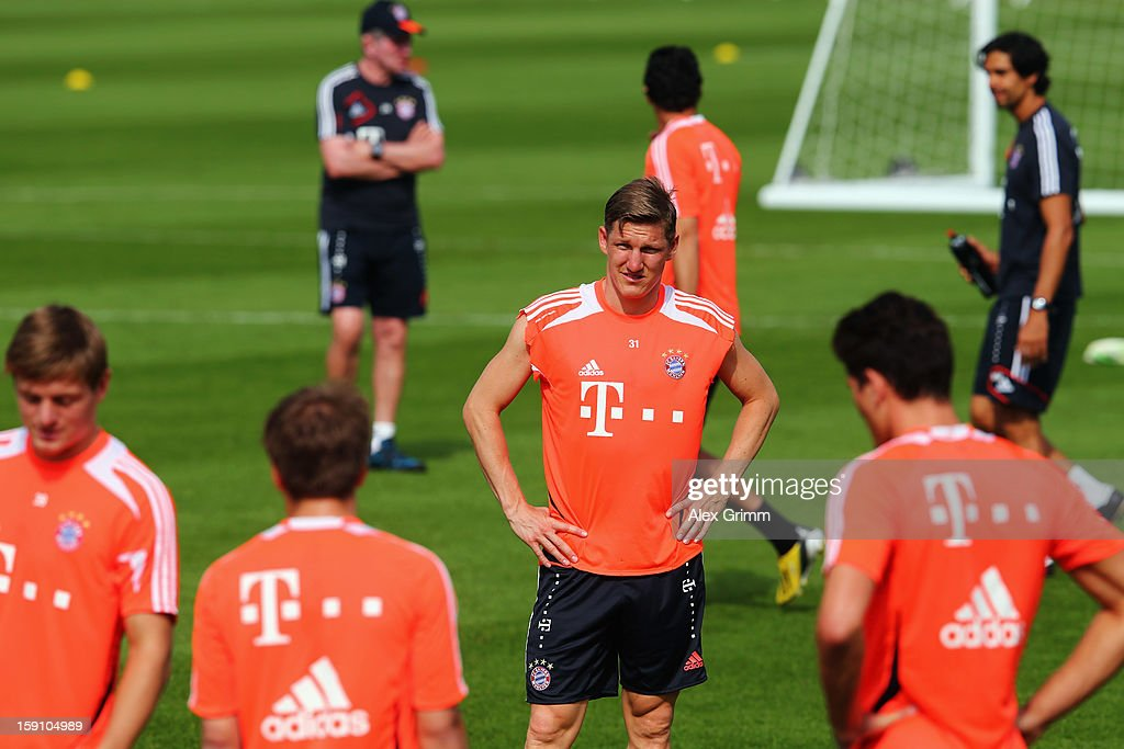 Bastian Schweinsteiger looks on during a Bayern Muenchen training session at the ASPIRE Academy for Sports Excellence on January 8, 2013 in Doha, Qatar.