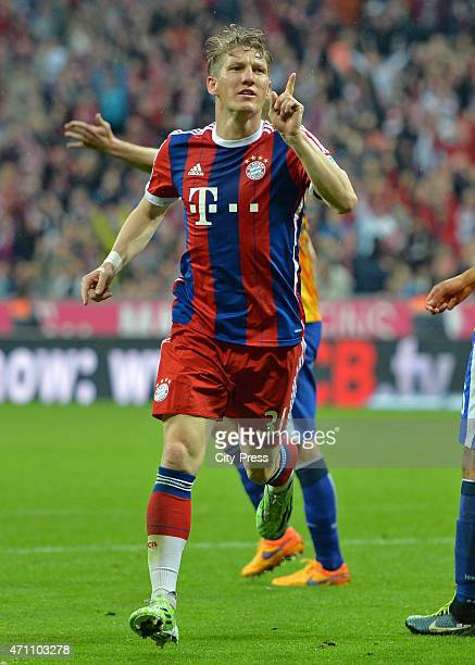 Bastian Schweinsteiger of Bayern Muenchen celebrates after scoring the 10 during the game FC Bayern Muenchen against Hertha BSC on april 25 2015 in...