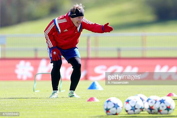 Bastian Schweinsteiger of Bayern Muenchen reacts during a training session at Bayern Muenchen's trainings ground Saebener Strasse on April 19 2015 in...