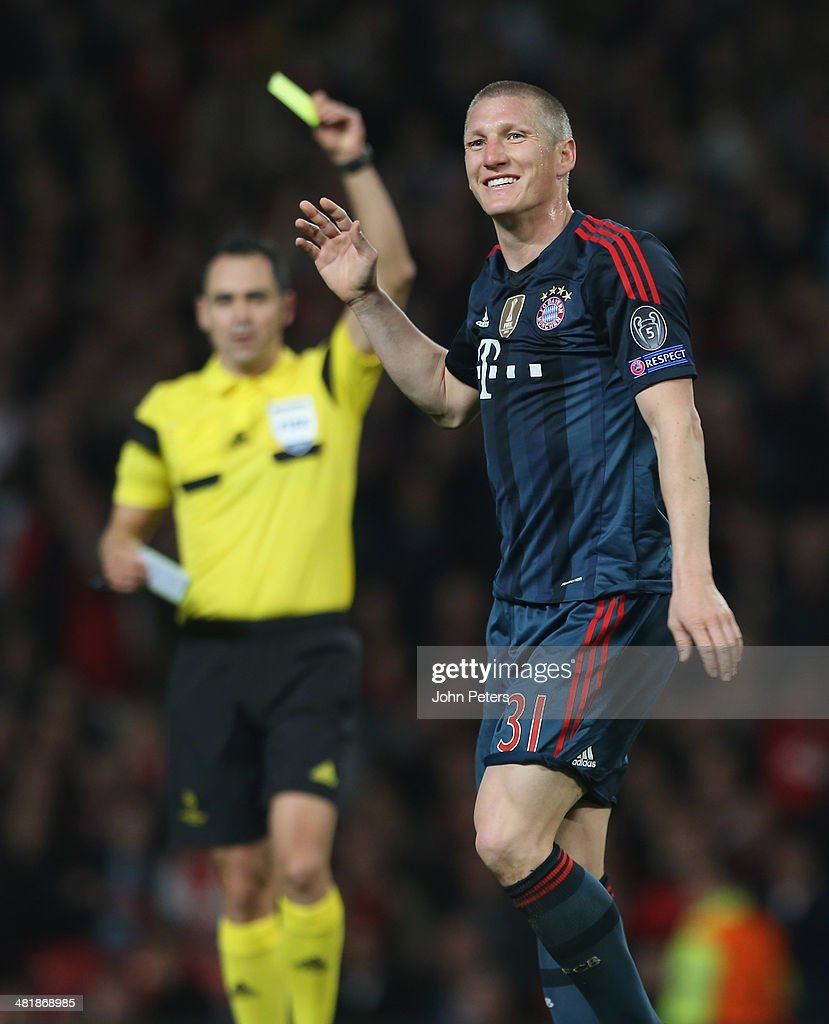 Bastian Schweinsteiger of Bayern Munich reacts to being sent off during the UEFA Champions League quarter-final first leg match between Manchester United and Bayern Munich at Old Trafford on April 1, 2014 in Manchester, England.