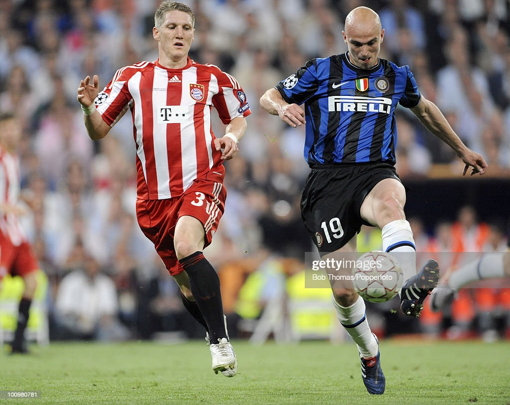 Bastian Schweinsteiger (left) of Bayern Munich with Esteban Cambiasso of Inter Milan during the UEFA Champions League Final match between Bayern Munich and Inter Milan at the Estadio Santiago Bernabeu on May 22, 2010 in Madrid, Spain.