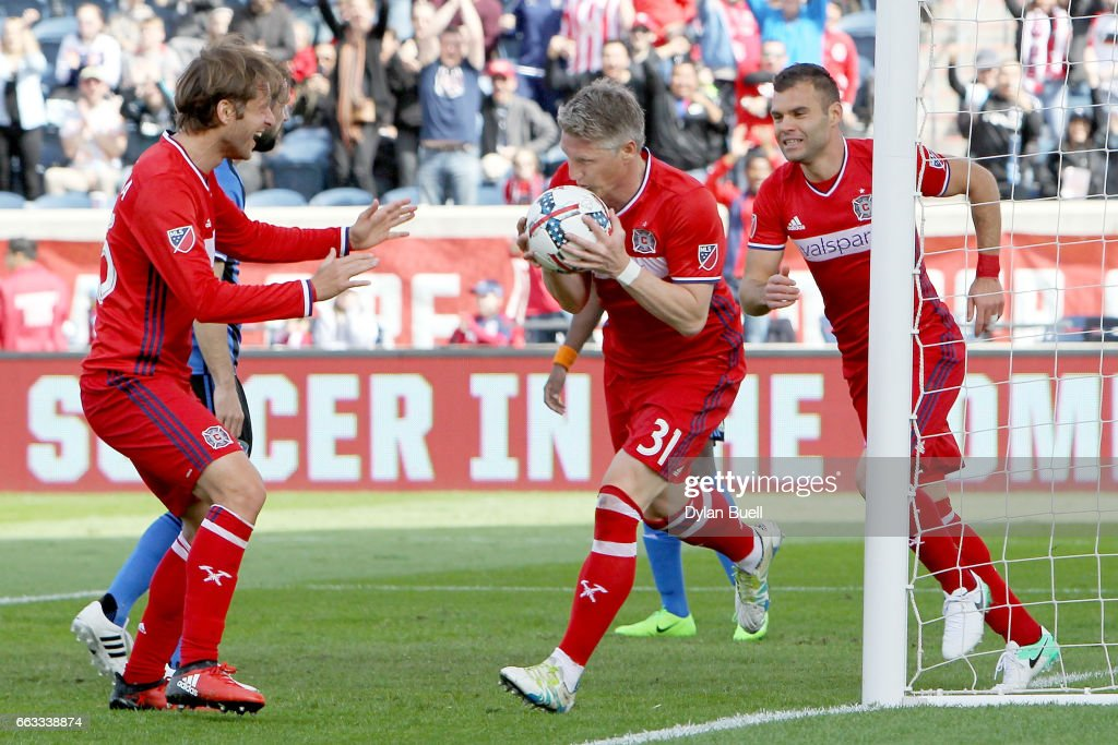 Bastian Schweinsteiger #31 of Chicago Fire celebrates by kissing the ball after scoring a goal in the first half against the Montreal Impact during an MLS match at Toyota Park on April 1, 2017 in Bridgeview, Illinois.