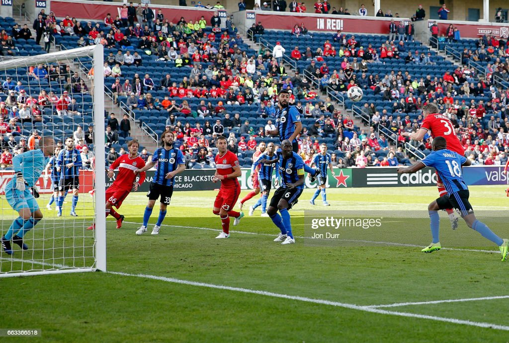 Bastian Schweinsteiger #31 of Chicago Fire scores a goal on a header against the Montreal Impact during first half at Toyota Park on April 1, 2017 in Bridgeview, Illinois.