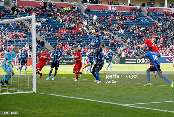 Bastian Schweinsteiger of Chicago Fire scores a goal on a header against the Montreal Impact during first half at Toyota Park on April 1 2017 in...