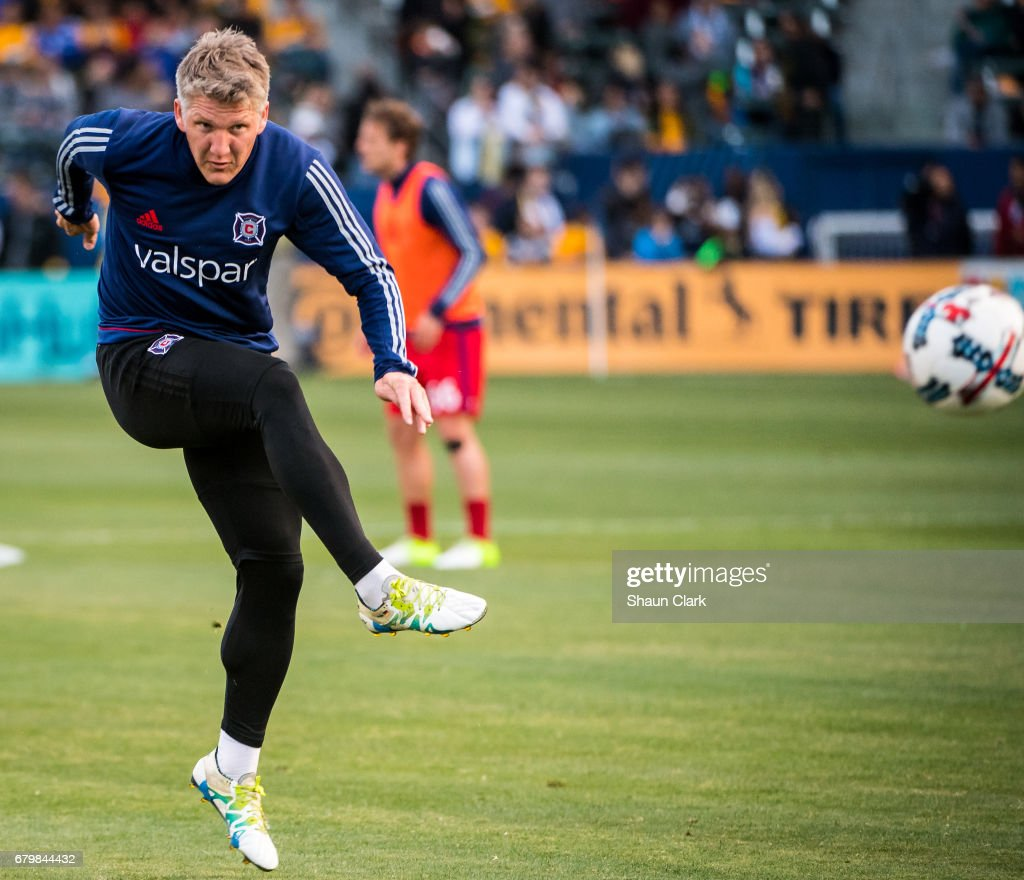 Bastian Schweinsteiger #31 of Chicago Fire warms up for the Los Angeles Galaxy's MLS match against Chicago Fire at the StubHub Center on May 6, 2017 in Carson, California. The match ended in a 2-2 tie.