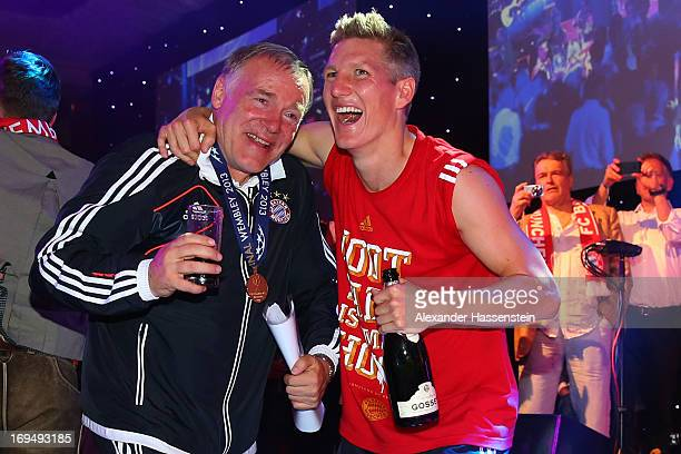 Bastian Schweinsteiger of FC Bayern Muenchen celebrates with assistent coach Hermann Gerland on the Bayern Muenchen Champions League Finale banquet...
