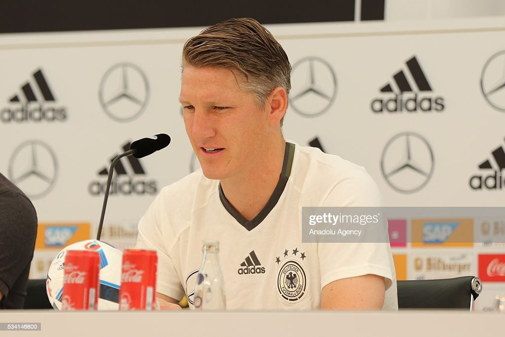 Bastian Schweinsteiger of German National Football Team talks to media after a training session at Lago Maggiore in Ascona, Switzerland on May 25, 2016. Germany's national soccer preparing for the upcoming UEFA EURO 2016 to be held in France in a training camp in Ascona, Switzerland, until 03 June.