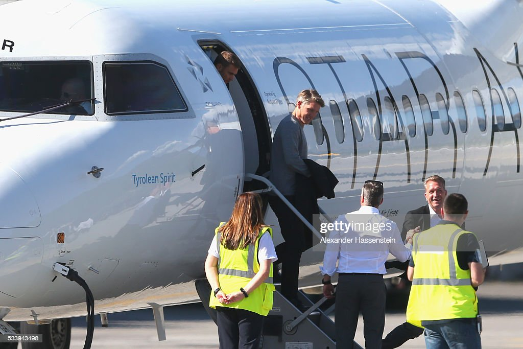 <a gi-track='captionPersonalityLinkClicked' href=/galleries/search?phrase=Bastian+Schweinsteiger&family=editorial&specificpeople=203122 ng-click='$event.stopPropagation()'>Bastian Schweinsteiger</a> of Germany arrives with the German national team at Lugano Airport on May 24, 2016 in Ascona, Switzerland.