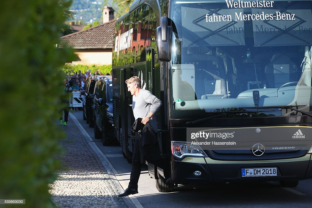 <a gi-track='captionPersonalityLinkClicked' href=/galleries/search?phrase=Bastian+Schweinsteiger&family=editorial&specificpeople=203122 ng-click='$event.stopPropagation()'>Bastian Schweinsteiger</a> of Germany arrives with the German national team at team hotel Hotel Giardino Ascona on May 24, 2016 in Ascona, Switzerland.