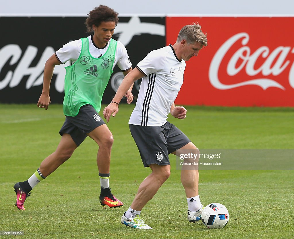 <a gi-track='captionPersonalityLinkClicked' href=/galleries/search?phrase=Bastian+Schweinsteiger&family=editorial&specificpeople=203122 ng-click='$event.stopPropagation()'>Bastian Schweinsteiger</a> (R) of Germany battles for the ball with his team mate Leroy Sane during a training session at Stadio communale on day 8 of the German national team trainings camp on May 31, 2016 in Ascona, Switzerland.