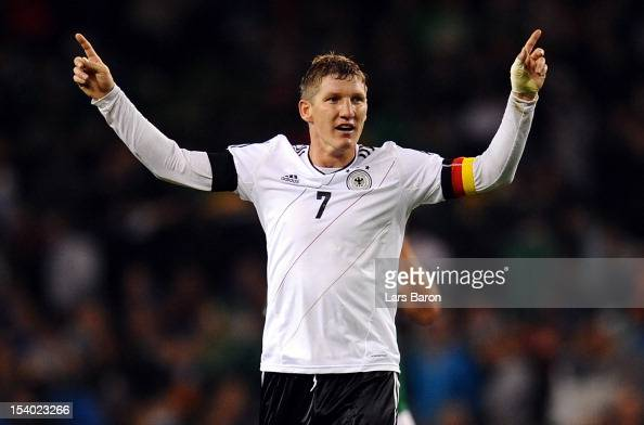 Bastian Schweinsteiger of Germany celebrates during the FIFA 2014 World Cup Qualifier group C match between Republic of Ireland and Germany at Aviva...