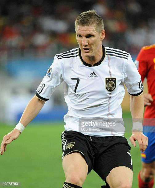 Bastian Schweinsteiger of Germany during the 2010 FIFA World Cup South Africa Semi Final match between Germany and Spain at Durban Stadium on July 7...