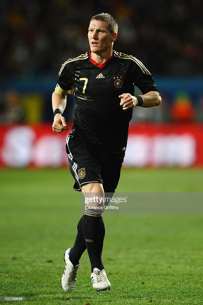 Bastian Schweinsteiger of Germany in action during the 2010 FIFA World Cup South Africa Third Place Play-off match between Uruguay and Germany at The Nelson Mandela Bay Stadium on July 10, 2010 in Port Elizabeth, South Africa.