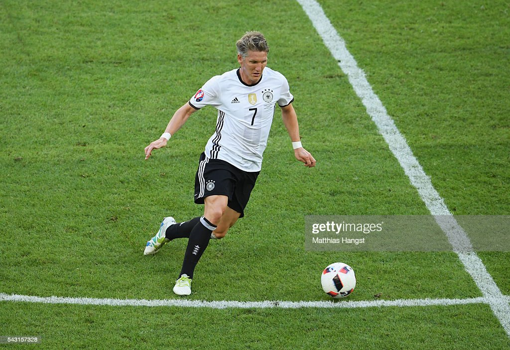 <a gi-track='captionPersonalityLinkClicked' href=/galleries/search?phrase=Bastian+Schweinsteiger&family=editorial&specificpeople=203122 ng-click='$event.stopPropagation()'>Bastian Schweinsteiger</a> of Germany in action during the UEFA EURO 2016 round of 16 match between Germany and Slovakia at Stade Pierre-Mauroy on June 26, 2016 in Lille, France.