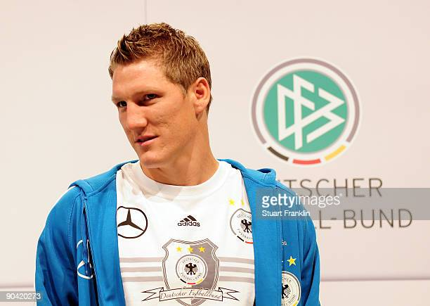 Bastian Schweinsteiger of Germany looks on during the DFB press conference at the Guerzenich on September 7 2009 in Cologne Germany