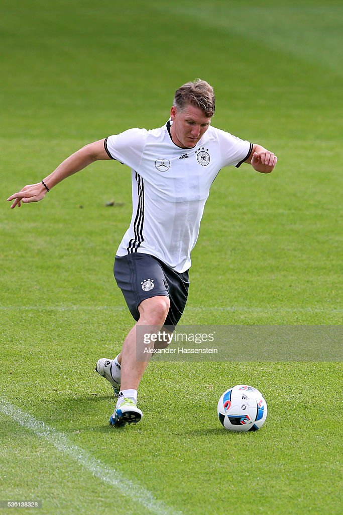 <a gi-track='captionPersonalityLinkClicked' href=/galleries/search?phrase=Bastian+Schweinsteiger&family=editorial&specificpeople=203122 ng-click='$event.stopPropagation()'>Bastian Schweinsteiger</a> of Germany plays the ball during a training session at Stadio communale on day 8 of the German national team trainings camp on May 31, 2016 in Ascona, Switzerland.