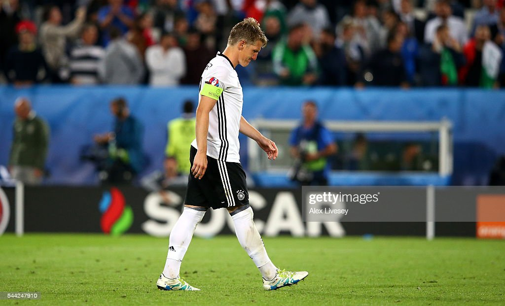 Bastian Schweinsteiger of Germany reacts after missing at the penalty shootout during the UEFA EURO 2016 quarter final match between Germany and Italy at Stade Matmut Atlantique on July 2, 2016 in Bordeaux, France.