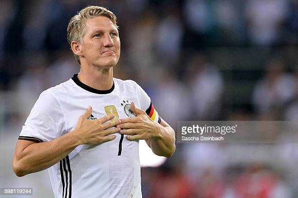 Bastian Schweinsteiger of Germany reacts after the international friendly match between Germany and Finland at BorussiaPark on August 31 2016 in...