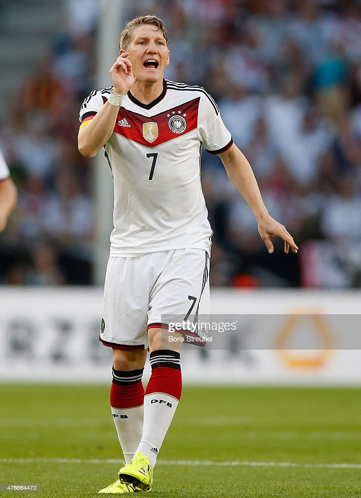Bastian Schweinsteiger of Germany reacts during the International Friendly match between Germany and USA at RheinEnergieStadion on June 10 2015 in...