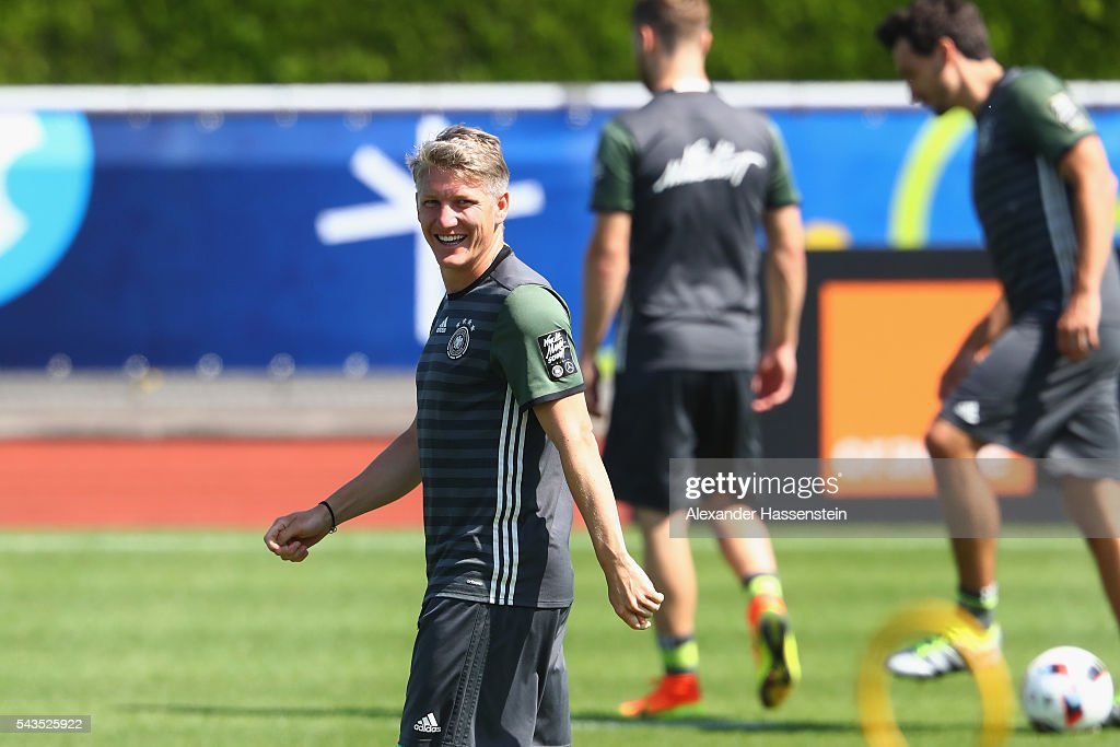 <a gi-track='captionPersonalityLinkClicked' href=/galleries/search?phrase=Bastian+Schweinsteiger&family=editorial&specificpeople=203122 ng-click='$event.stopPropagation()'>Bastian Schweinsteiger</a> of Germany smiles during a Germany training session at Ermitage Evian on June 29, 2016 in Evian-les-Bains, France.
