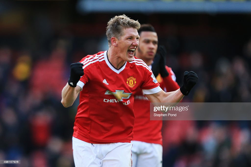 Bastian Schweinsteiger of Manchester United celebrates scoring his team's second goal scored by Troy Deeney of Watford during the Barclays Premier League match between Watford and Manchester United at Vicarage Road on November 21, 2015 in Watford, England.