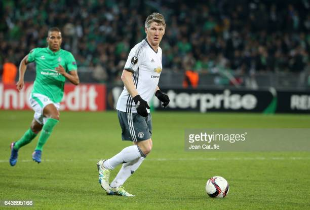 Bastian Schweinsteiger of Manchester United in action during the UEFA Europa League Round of 32 second leg match between AS SaintEtienne and...