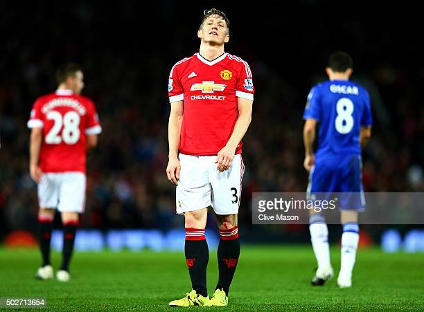 Bastian Schweinsteiger of Manchester United reacts during the Barclays Premier League match between Manchester United and Chelsea at Old Trafford on...