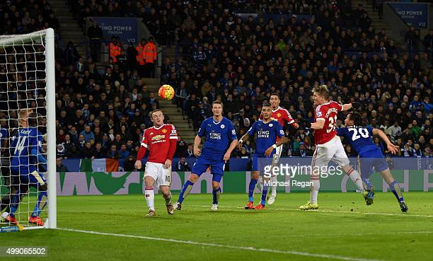 Bastian Schweinsteiger of Manchester United scores his team's first goal during the Barclays Premier League match between Leicester City and...