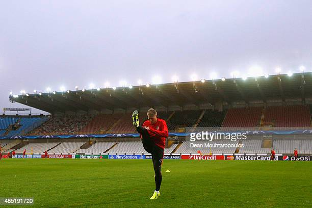 Bastian Schweinsteiger of Manchester United warms up during the Manchester United training session held at Jan Breydel Stadium on August 25 2015 in...