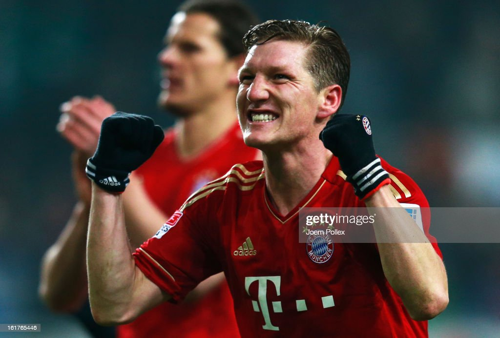 <a gi-track='captionPersonalityLinkClicked' href=/galleries/search?phrase=Bastian+Schweinsteiger&family=editorial&specificpeople=203122 ng-click='$event.stopPropagation()'>Bastian Schweinsteiger</a> of Muenchen celebrates after the Bundesliga match between VfL Wolfsburg and FC Bayern Muenchen at Volkswagen Arena on February 15, 2013 in Wolfsburg, Germany.