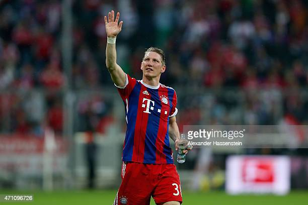 Bastian Schweinsteiger of Muenchen celebrates after the Bundesliga match between FC Bayern Muenchen and Hertha BSC Berlin at Allianz Arena on April...