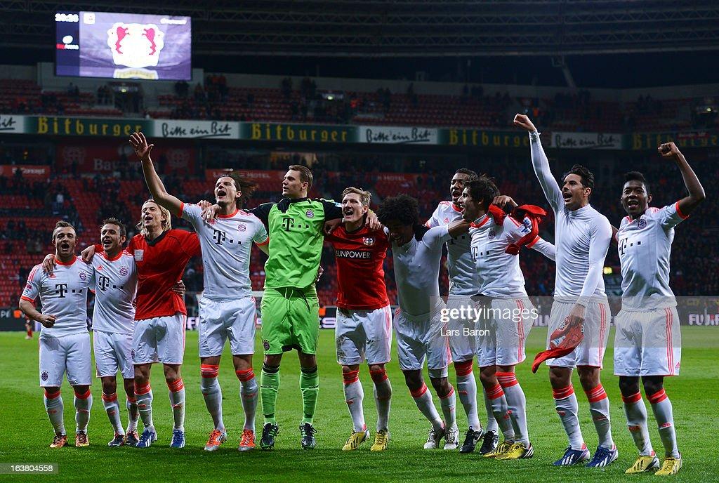 Bastian Schweinsteiger of Muenchen celebrates with team mates after winning the Bundesliga match between Bayer 04 Leverkusen and FC Bayern Muenchen...