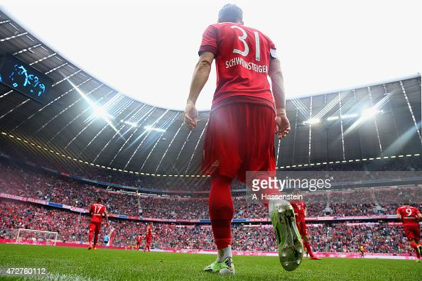 Bastian Schweinsteiger of Muenchen enters the field for the Bundesliga match between FC Bayern Muenchen and FC Augsburg at Allianz Arena on May 9...