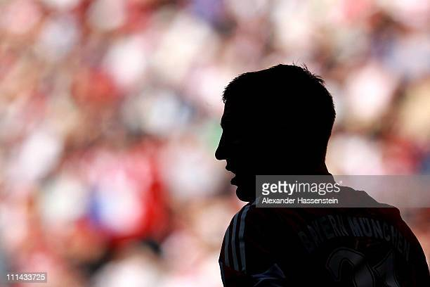 Bastian Schweinsteiger of Muenchen looks on during the Bundesliga match between FC Bayern Muenchen and Borussia Moenchengladbach at Allianz Arena on...