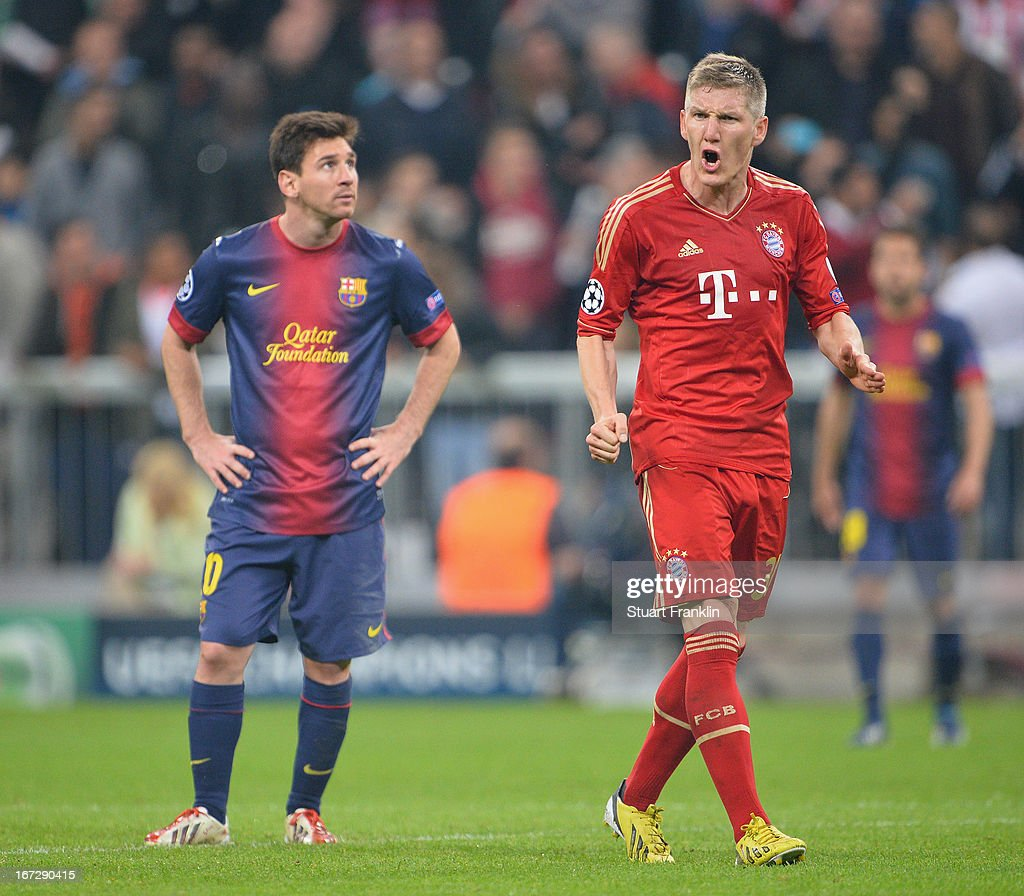 <a gi-track='captionPersonalityLinkClicked' href=/galleries/search?phrase=Bastian+Schweinsteiger&family=editorial&specificpeople=203122 ng-click='$event.stopPropagation()'>Bastian Schweinsteiger</a> of Muenchen shouts as <a gi-track='captionPersonalityLinkClicked' href=/galleries/search?phrase=Lionel+Messi&family=editorial&specificpeople=453305 ng-click='$event.stopPropagation()'>Lionel Messi</a> of Barcelona looks dejected during the UEFA Champions League semi final first leg match between FC Bayern Muenchen and FC Barcelona at Allianz Arena on April 23, 2013 in Munich, Germany.