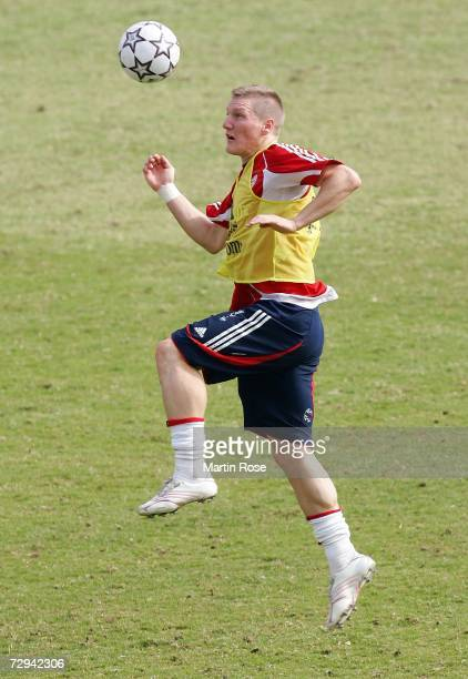 Bastian Schweinsteiger of Munich jumps to head the ball during the Bayern Munich training camp on January 07 2007 in Dubai United Arab Emirates