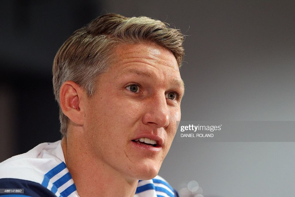 Bastian Schweinsteiger of the German national football team addresses the media during a news conference in Frankfurt, Germany on September 1, 2015 prior to ... - bastian-schweinsteiger-of-the-german-national-football-team-addresses-picture-id486141892