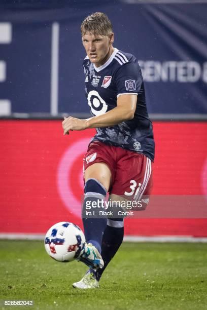 Bastian Schweinsteiger of the MLS AllStars kicks the ball down field during the MLS AllStar match between the MLS AllStars and Real Madrid at the...