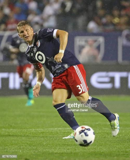 Bastian Schweinsteiger of the MLS AllStars passes against Real Madrid during the 2017 MLS All Star Game at Soldier Field on August 2 2017 in Chicago...