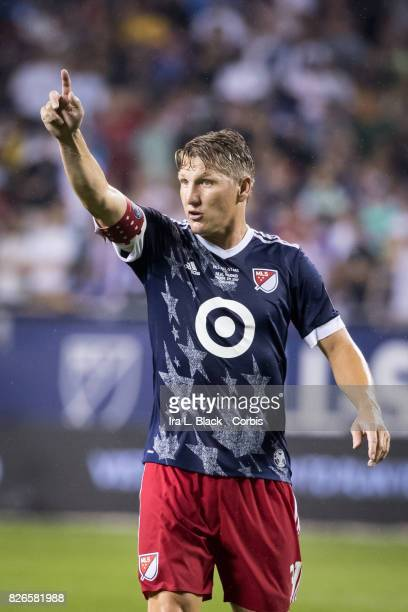 Bastian Schweinsteiger of the MLS AllStars signals to teammates during the MLS AllStar match between the MLS AllStars and Real Madrid at the Soldier...