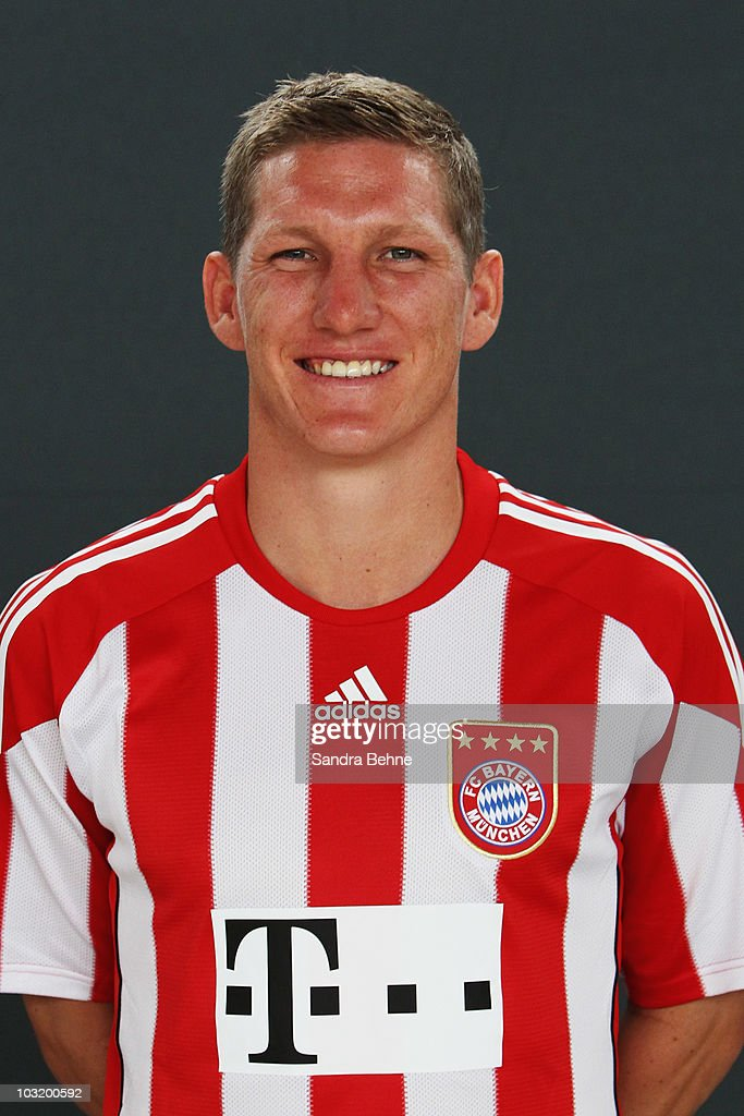 <a gi-track='captionPersonalityLinkClicked' href=/galleries/search?phrase=Bastian+Schweinsteiger&family=editorial&specificpeople=203122 ng-click='$event.stopPropagation()'>Bastian Schweinsteiger</a> poses during the FC Bayern Muenchen team presentation at Bayern's training ground Saebener Strasse on August 2, 2010 in Munich, Germany.