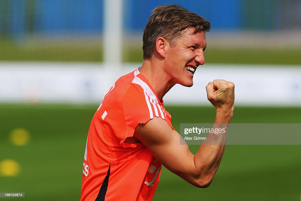 Bastian Schweinsteiger reacts during a Bayern Muenchen training session at the ASPIRE Academy for Sports Excellence on January 8, 2013 in Doha, Qatar.