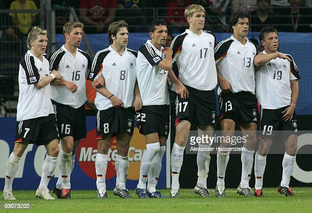 Bastian Schweinsteiger Thomas Hitzlsperger Torsten Frings Kevin Kuranyi Per Mertesacker Michael Ballack and Bernd Schneider of Germany in action...
