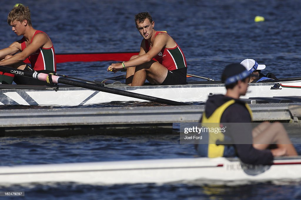 Bastian Scotts-Bahle awaits the start of the boys under-18 lightweight coxed four final during the New Zealand Junior Rowing Regatta on February 24, 2013 in Auckland, New Zealand.