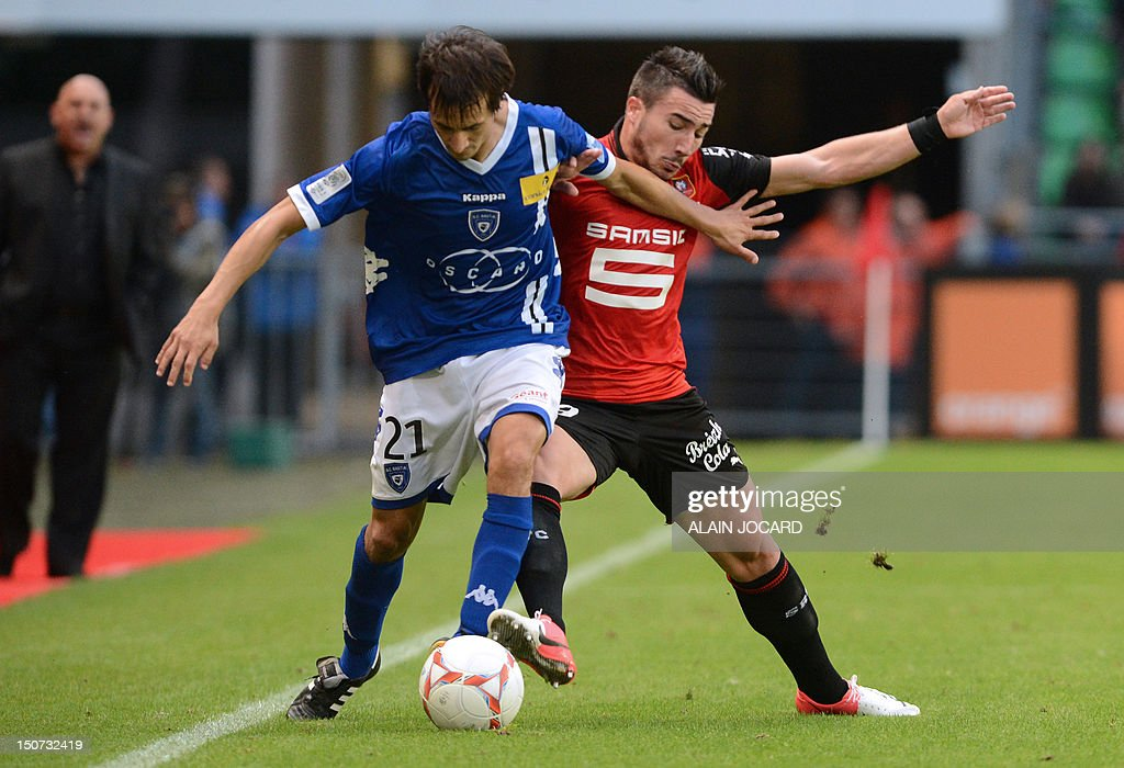 Bastia's Algerian defender Fethi Harek (L), vies with Rennes's French striker Romain Alessandrini during the French L1 football match, Rennes (SRFC) vs Bastia (SCB), on August 25, 2012 at the route de Lorient stadium in Rennes, western France.