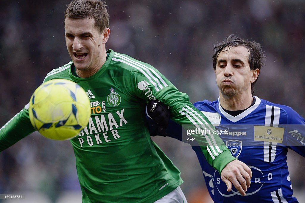 Bastia's Algerian defender Fethi Harek (R) vies with Saint-Etienne's French defender Francois Clerc (L) during the French L1 football match AS Saint-Etienne (ASSE) vs Bastia (SCB) on January 27, 2013, at the Geoffroy Guichard Stadium in Saint-Etienne, central France.