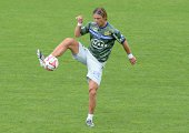 Bastia's Belgian midfielder Guillaume Gillet warms up prior to the French L1 footbal match Bordeaux vs Bastia on August 31 2014 at the ChabanDelmas...