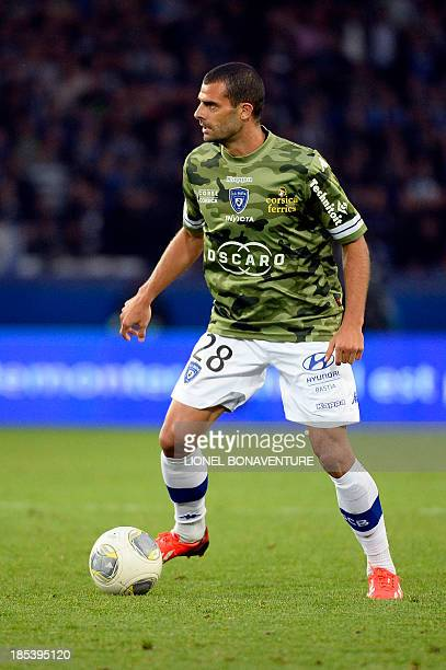 Bastia's Brazilain forward Ilan Araujo runs with the ball during the French L1 football match Paris Saint Germain against Bastia on October 19 2013...
