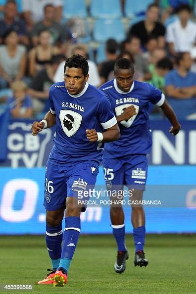 Bastia's Brazilian forward Brandao warms up prior to the French L1 football match Bastia vs Marseille on August 9 2014 at the Armand Cesari stadium...